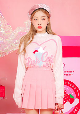pink cafe knit tops