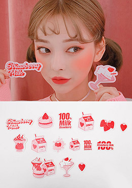 strawberry milk. strawberry plate sticker