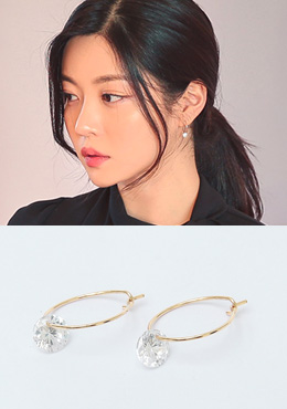 [CHUU]Circle Gold Cubic Earring